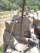"Rock Climbing Photo: A typical TR anchor in KZ.  1"" rebar drilled ..."