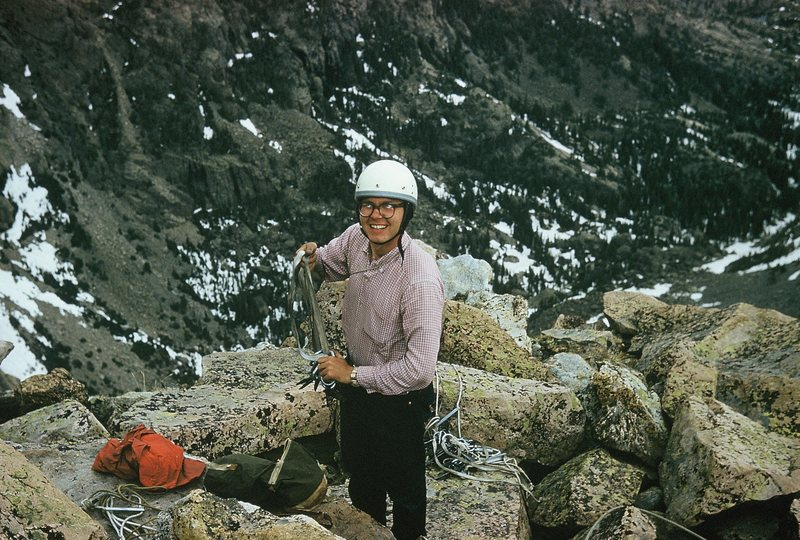Rodger atop the Second Buttress after a hybrid climb of the Love Route and Englishman's Route@SEMICOLON@ June, 1961.
