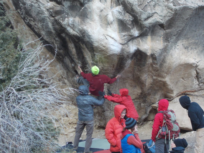 Rock Climbing Photo: Matty G. works out some of the moves on Ghost King...