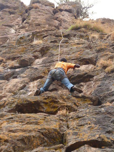 Local climber Kassahun tries his first climb ever!