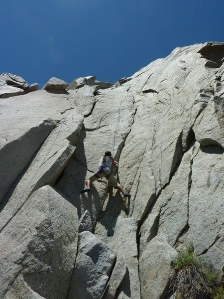 Me on the crux of Flaked Out 5.9+...