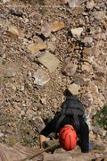Rock Climbing Photo: Dylan Barnard coming up P1 during the first ascent...