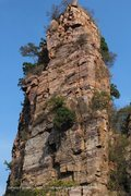 Rock Climbing Photo: The upper 2/3 of the route, which ascends the prom...