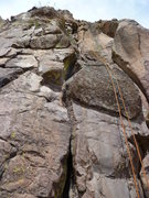 Rock Climbing Photo: The route is the crack to the left of the rope.