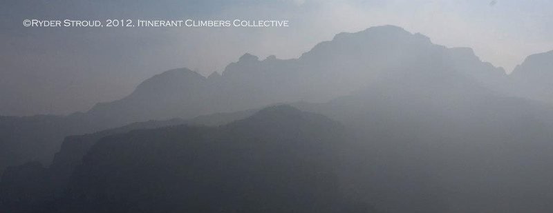 Mountain silhouettes through the haze in the Wanxian Mountain region of the Taihang Mountains.