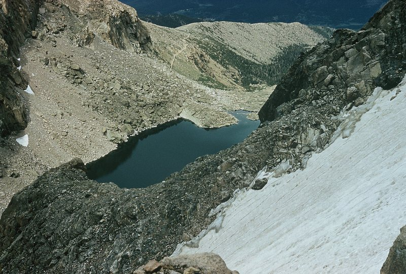 Chasm Lake from high on Stettner's ledges, June, 1961.