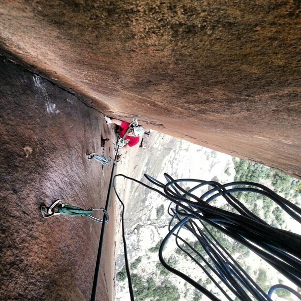 Steven on P4, Time's Up. The technical well protected crux on thin varnished rock. So good!