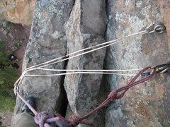 Rock Climbing Photo: Dass anchor looking down.