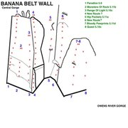 Rock Climbing Photo: Topo to new routes at the Banana Belt Wall