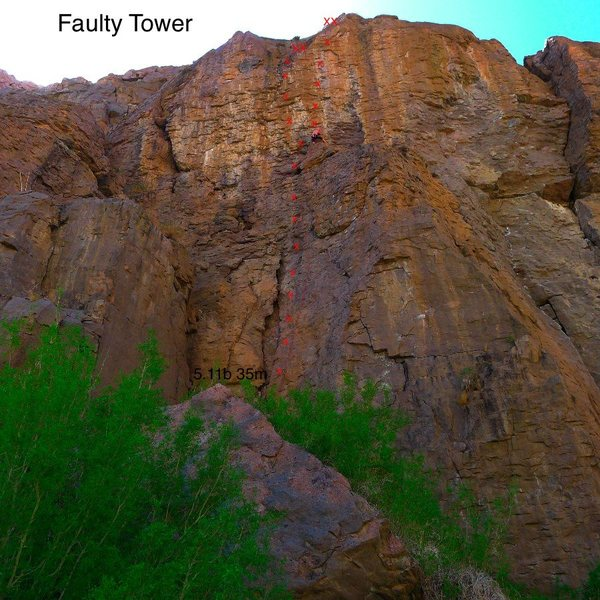 Topo to a new route at the Fautly Tower.