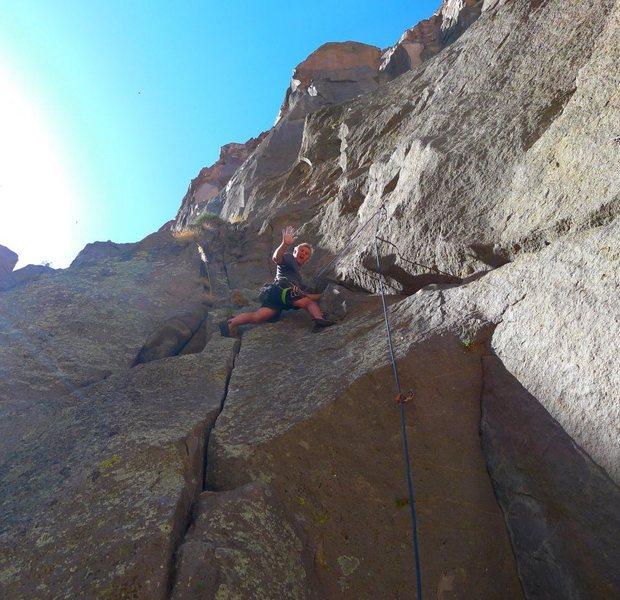 Mike Arechiga on the super fun route,Gorge Corner.5.9