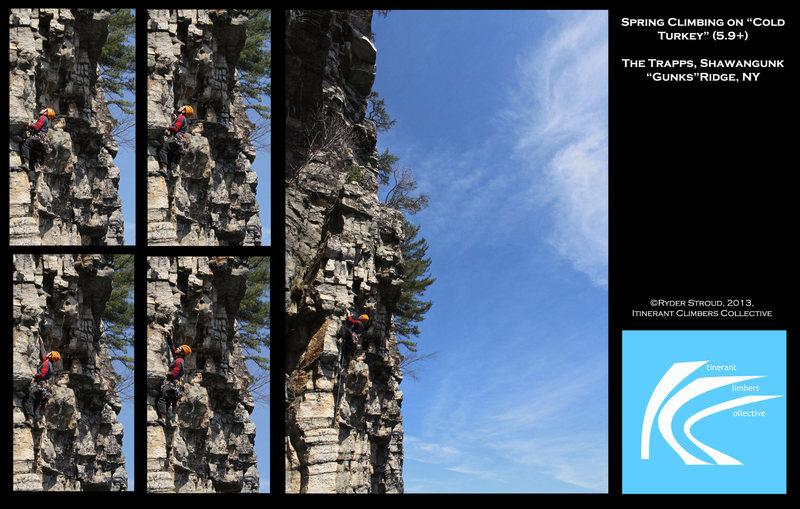 """A composite of a climber on """"Cold Turkey"""""""
