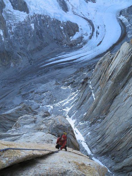 Rock Climbing Photo: Patagonia!  Liz Donley follows a pitch on Chiaro d...