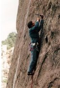 Rock Climbing Photo: FA Taboo Winter 1985. Verglas on the water streak ...