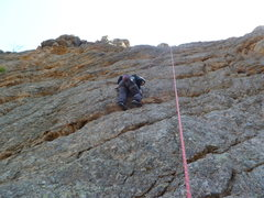 Rock Climbing Photo: Cindy midway up.