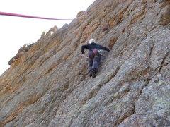 Rock Climbing Photo: Cindy about halfway.