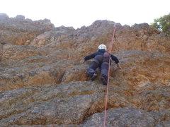 Rock Climbing Photo: Cindy cruising up.