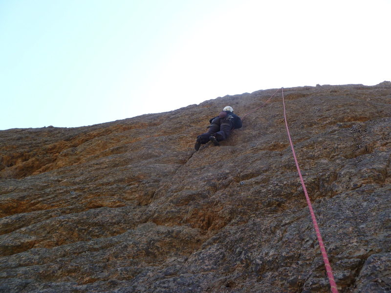 Rock Climbing Photo: Cindy up high.