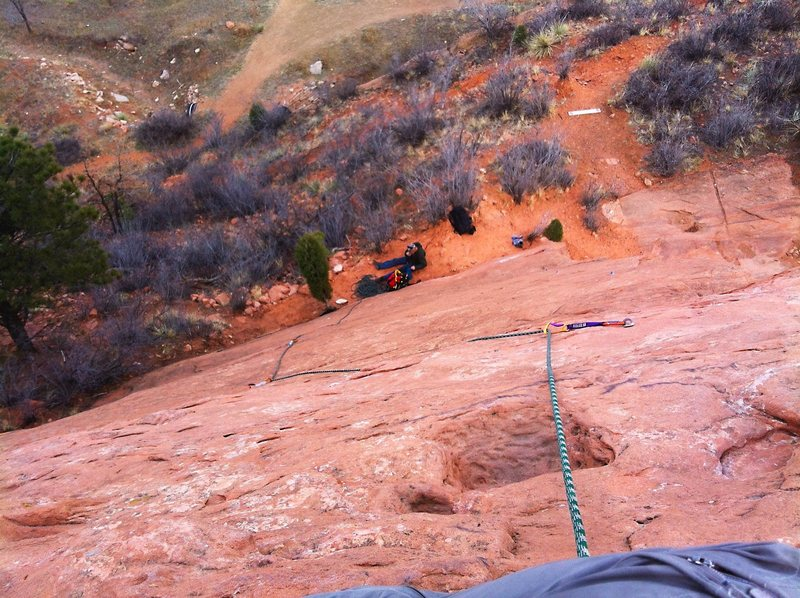 Rock Climbing Photo: Looking down Monosmear. I almost skipped that last...