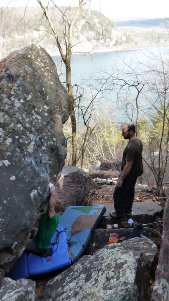 Rock Climbing Photo: Vince on the start of Mike's Boulder.