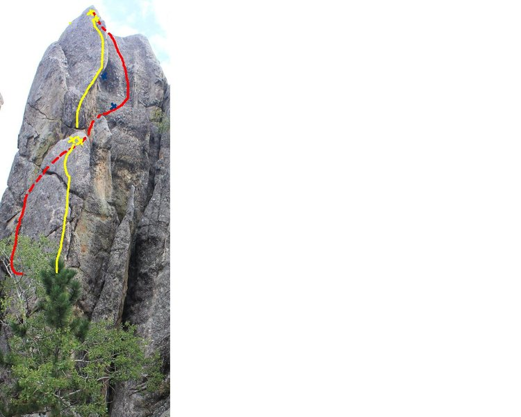 Yellow is all tuckered out/tuck and roll. red is the route we followed with the blue x's the approximate locations of the pro (1st being a knob 2nd being a #1 and #3 cam, use really long runners as you can see the route climbed didn't follow the gear placed.)