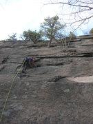 Rock Climbing Photo: Sarah Arsenault just below the crux moves.