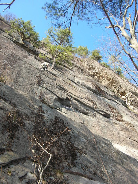 Steve Arsenault just past the crux on Raven Song.