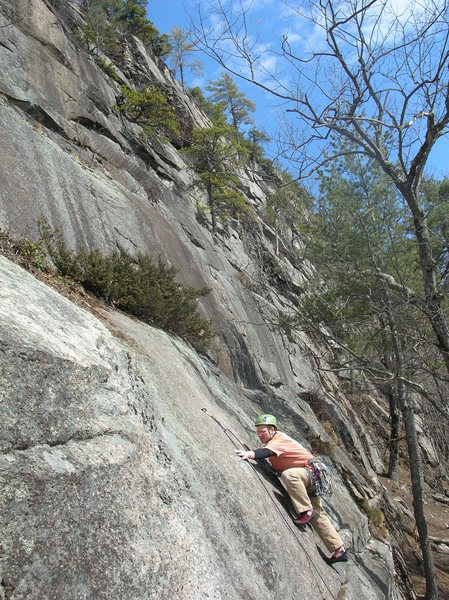 Rock Climbing Photo: Ri Fahnestock on the initial crux moves.