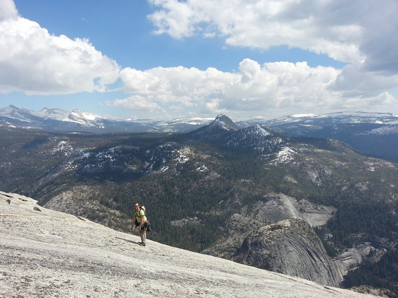 ..still wandering up the 4th class slabs to the Half Dome summit.