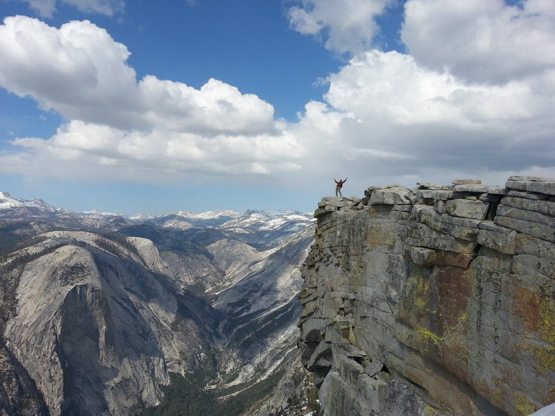 The real reason for climbing Snake Dike - standing on the summit of Half Dome.  If you're scared of exposure, I wouldn't recommend looking over the edge :).  April 24, 2013