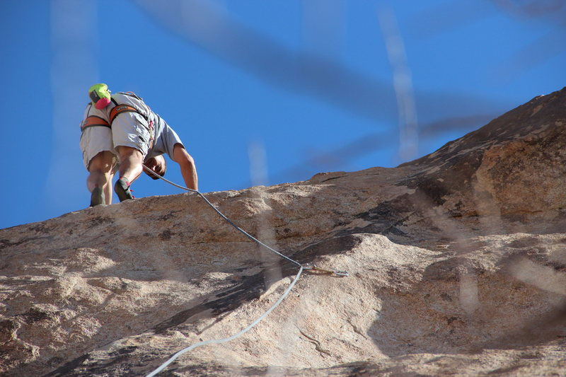 Rock Climbing Photo: Moving up to the second bolt, beautiful winter day...