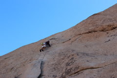 Rock Climbing Photo: Moving to second bolt.  You can either go in the d...