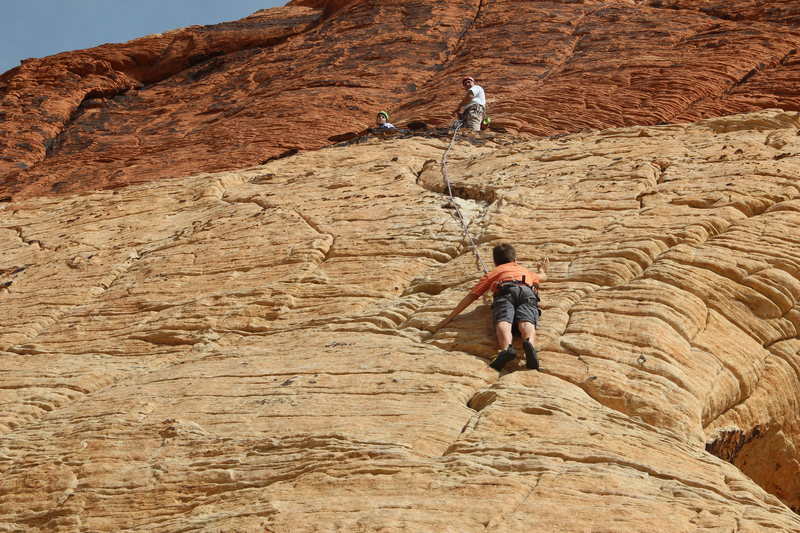 Rock Climbing Photo: My son coming up third, while my daughter and I wa...