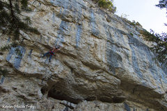 Brandon Smith pulling the crux roof