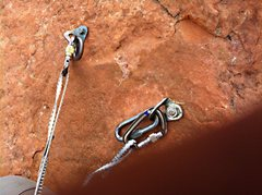 Rock Climbing Photo: Shoe lace tethers. Still seems weird to trust my l...