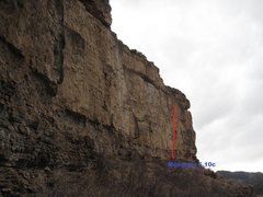 Rock Climbing Photo: Approximate location of Mongrels, 5.10c.