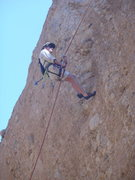 "Rock Climbing Photo: A climber rappelling down the line of ""Middle..."