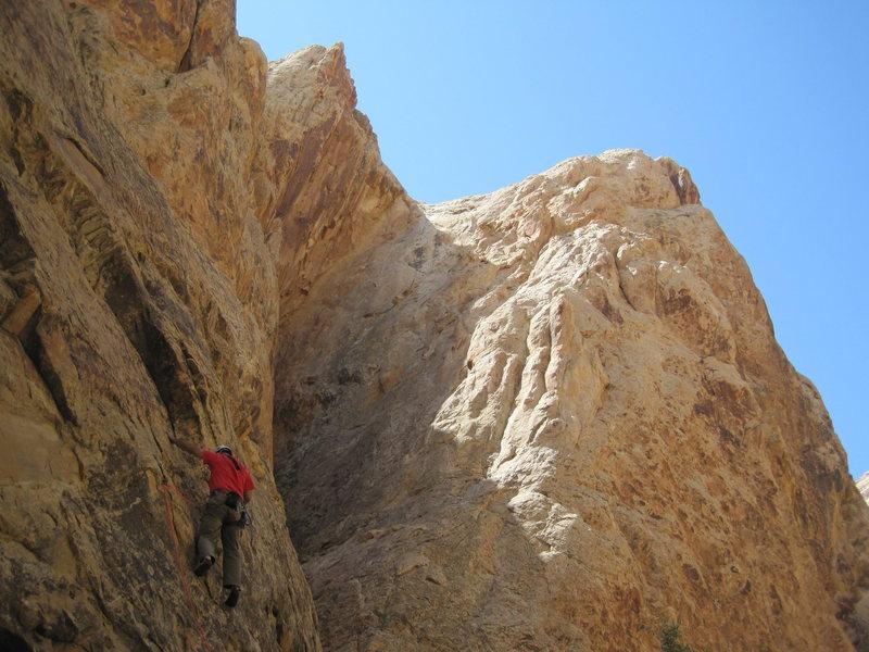 Rock Climbing Photo: John Bald on Firth of Forth. Moonbeam corner up an...