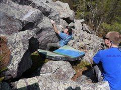 Rock Climbing Photo: Ian rounding the corner.