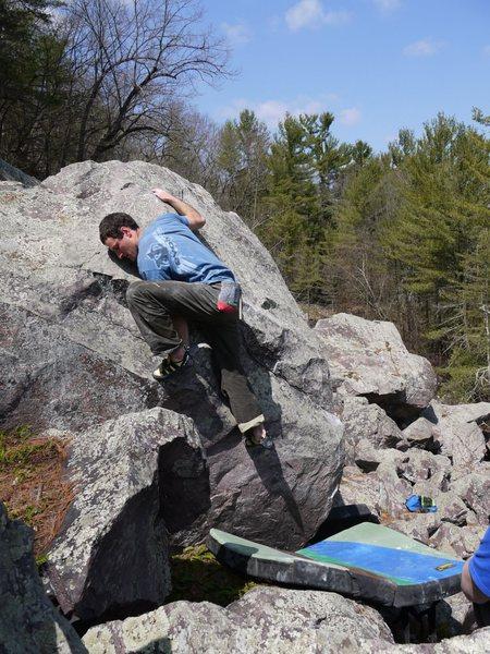 Rock Climbing Photo: Hard finish mantle.