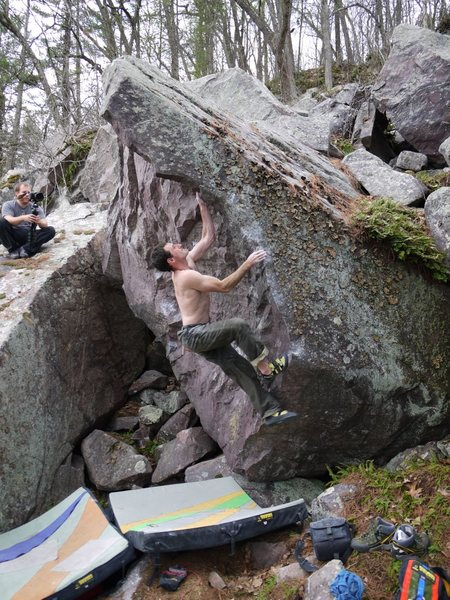 Ian on a project line on the Green Fire boulder.  Hard, and will be proud.