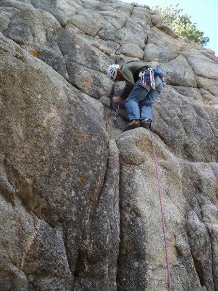 Rock Climbing Photo: Placing the first piece.