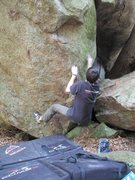 Rock Climbing Photo: Me working the opening moves on Innovator
