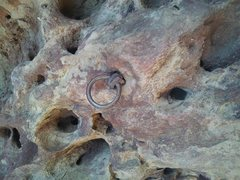 Rock Climbing Photo: Pin 2 - old, rusty, ring piton.