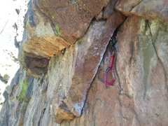 Rock Climbing Photo: Unnecessary pin above the P3 crux.  Note bomber re...