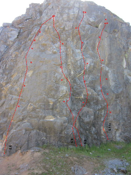 from left to right: <br> Community Chest, 5.6 <br> Kirk Arens Arete, 5.9<br> Quirky, 5.9<br> On Demand, 5.11c<br> (not pictured)<br> sneaky, 5.10b<br> Short Term Memory, 5.10a