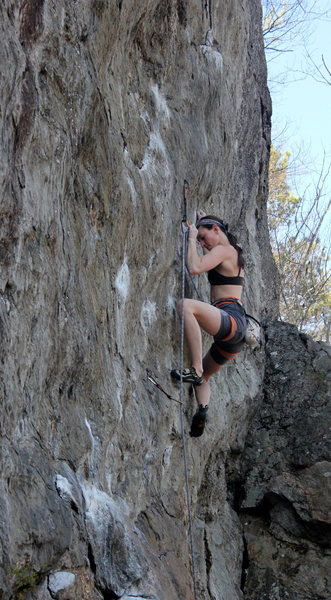 Alexa Crimping hard through the thin first crux