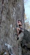 Rock Climbing Photo: Alexa Crimping hard through the thin first crux