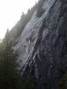 Rock Climbing Photo: Eric pulling the last roof on Domino Effect to joi...