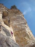 Rock Climbing Photo: Tator Tot hucks his way though the lower slab port...